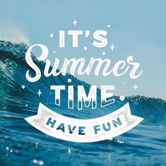 Hello summer lettering with photo