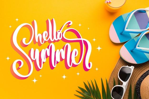 こんにちは写真付きの夏のレタリング