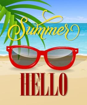 Ciao lettering estivo con mare spiaggia e occhiali da sole