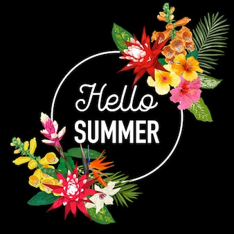 Hello summer lettering with tropical floral frame