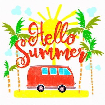 Hello summer lettering with van and palm trees