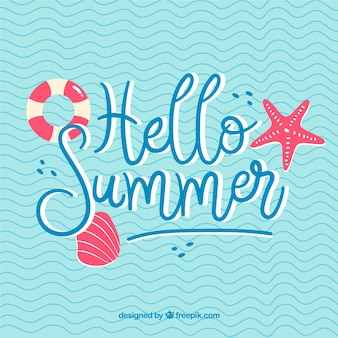 Hello summer lettering with water background in hand drawn style