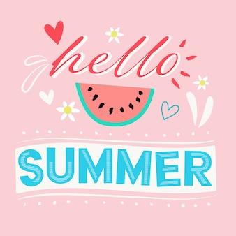 Привет летом надписи с арбузом