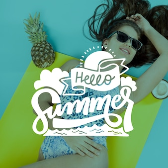Hello summer lettering with woman and pineapple