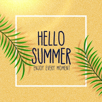 Hello summer lovely beach background with leaves shade