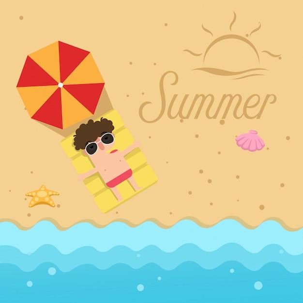 Привет лето. человек спать на пляже иллюстрации