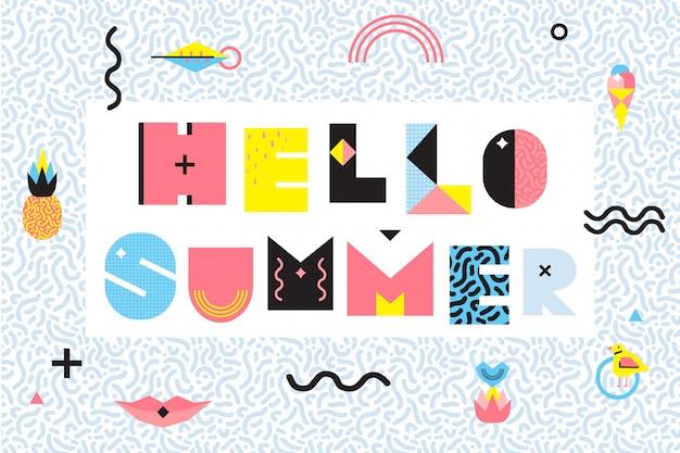 Hello summer memphis style design