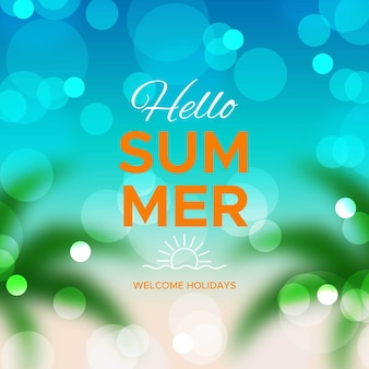 Привет летнее сообщение с несфокусированным изображением