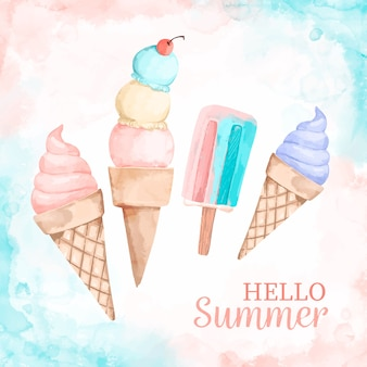 Hello summer message with watercolor illustration
