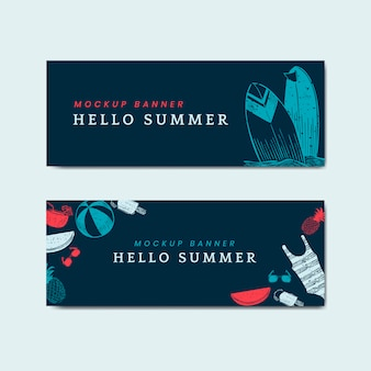 Hello summer mockup banners vector set