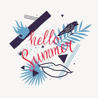 Hello summer modern poster on abstract background with palm leaves and geometric shapes
