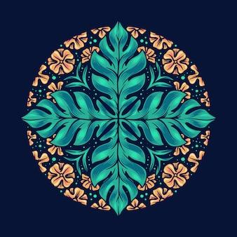 こんにちは夏のネイティブの花の葉でかわいいマンダラ