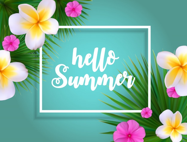 Hello summer natural floral background with frame