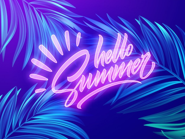 Hello summer neon lettering on a background of exotic tropical palm leaves.