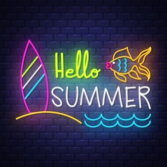 Hello summer. neon sign lettering