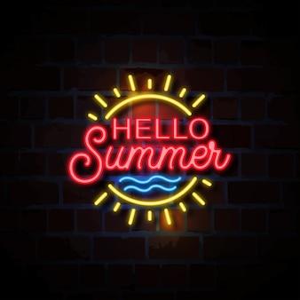 Hello summer neon style sign illustration