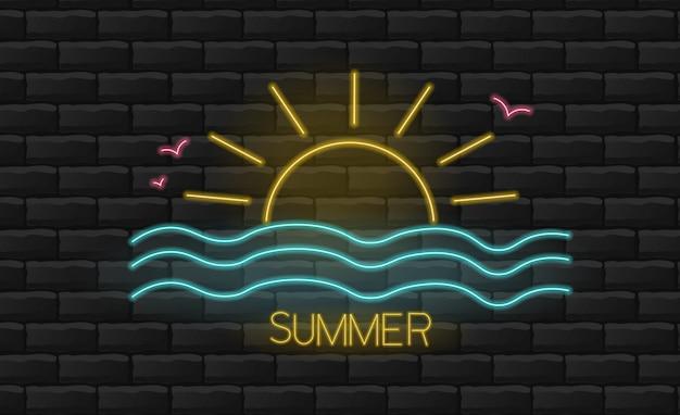 Hello summer, neon sun and sea light