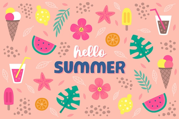 Hello summer objects hand drawn background