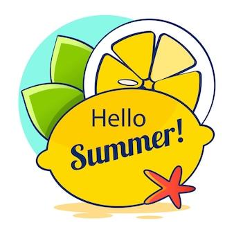 안녕하세요 여름 수채화. 서머 타임 로고 템플릿입니다. 격리 된 인쇄 상의 디자인 레이블입니다. 초대장, 인사말 카드, 지문 및 포스터를 위한 여름 방학 레터링. 해변 파티 즐기기