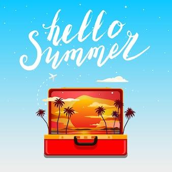 Привет лето. открытый оранжевый чемодан с закатом и пальмами