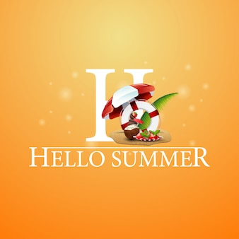 Hello summer, orange postcard with coconut ice cream cocktail and lifeline