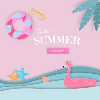 Hello summer paper art sale vector banner.