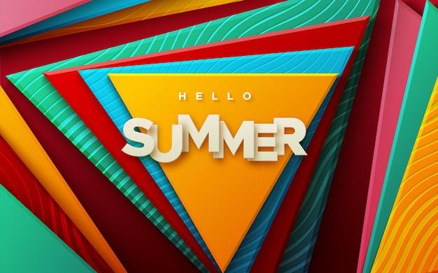 Здравствуйте, лето бумажный знак на абстрактном фоне с разноцветными геометрическими фигурами