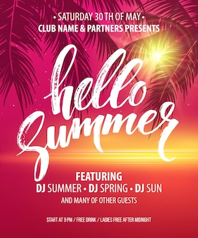 Hello summer party flyer