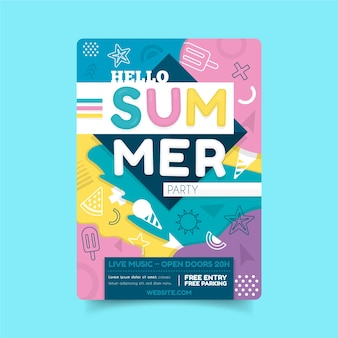 Hello summer party poster template