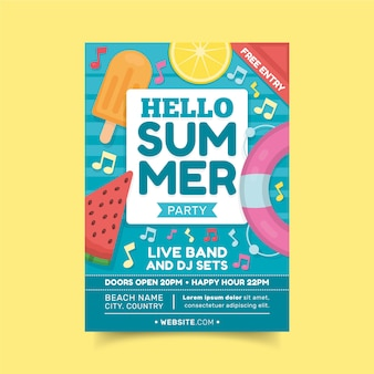Hello summer party poster