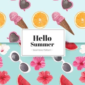 Привет летний узор бесшовные с летними флюидами