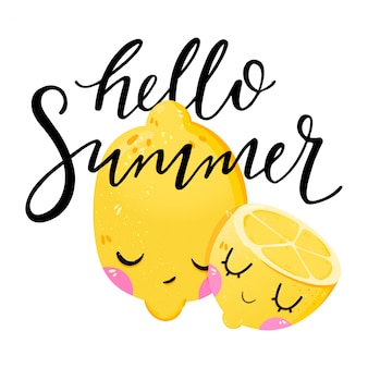 Hello summer phrase handwritten lettering with illustration fruit lemon.