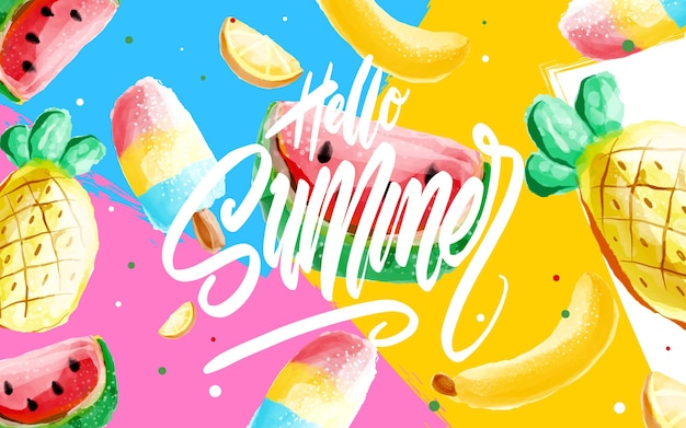 안녕하세요 여름 포스터, 트렌디한 80-90년대 멤피스 스타일의 배너. 벡터 수채화 그림, 레터링 및 포스터, 카드, 초대장을 위한 화려한 디자인. 귀하의 디자인을 위해 쉽게 편집할 수 있습니다.