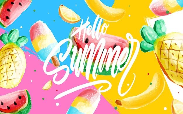 Hello summer poster, banner in stile memphis alla moda anni '80-'90. illustrazione dell'acquerello di vettore, scritte e design colorato per poster, carta, invito. facile modificabile per il tuo design.