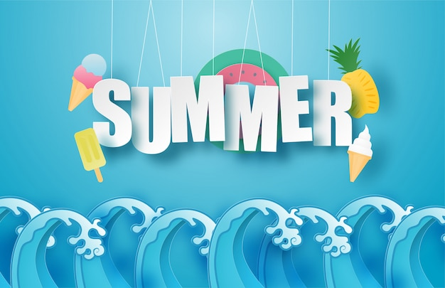 Hello summer poster or banner with hanging text, ice cream, swim ring, pineapple over sea wave in paper cut style. illustration digital craft paper art.