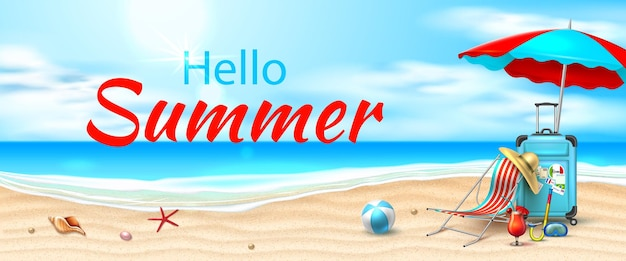 Hello summer poster beach with azure waves lounger sun umbrella inflatable ball cocktail starfish