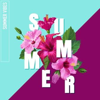 Привет, летний плакат. цветочный дизайн с розовыми цветами гибискуса для футболки, ткани, вечеринки, баннера, флаера. тропический ботанический фон. векторная иллюстрация