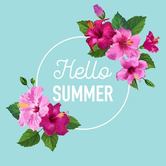 Hello summer poster. floral design with purple hibiscus flowers for t-shirt