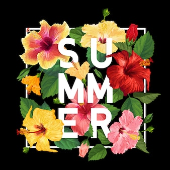 Hello summer poster. floral design with red and yellow hibiscus flowers for t-shirt