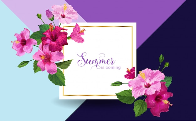 Hello summer poster floral design