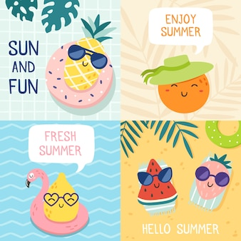 Hello summer poster. funny fruits, pineapple in sunglasses and tropical fruit beach party banner   illustration set