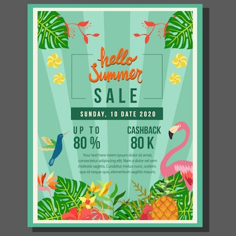Hello summer poster sale with tropical theme flat style