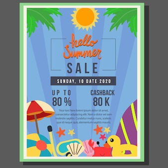 Hello summer poster template sale with flat style border vector illustration