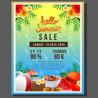 Hello summer poster template sale with sea colorful summer drink element vector illustration