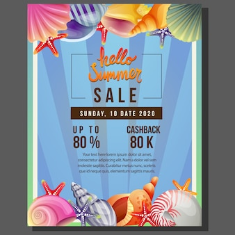 Hello summer poster template sale with sea shell border vector illustration