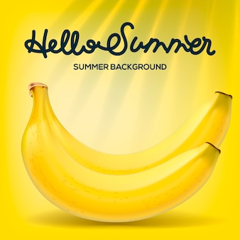 Hello summer poster with bananas on yellow background,  illustration.