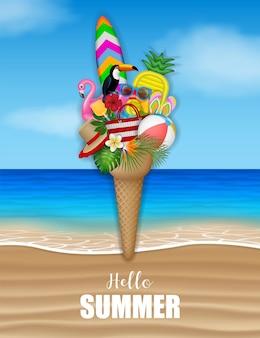 こんにちは夏のポスターとビーチのアイスクリームの形のビーチ要素