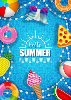 Hello summer poster with colorful inflatables balls mattresses and rings on pool water