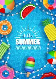 Hello summer poster with colorful inflatables on pool water