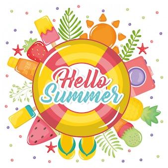 Привет летний постер с иконками праздника